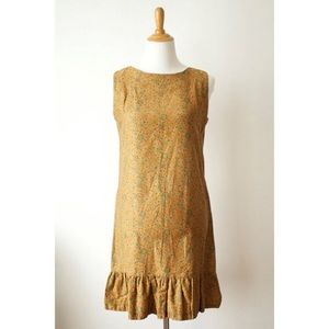 Vintage 60s Brown Floral Shift Dress x-small